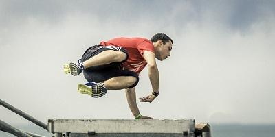 Best Pakour Shoes Man Jumpig over cement doing parkour