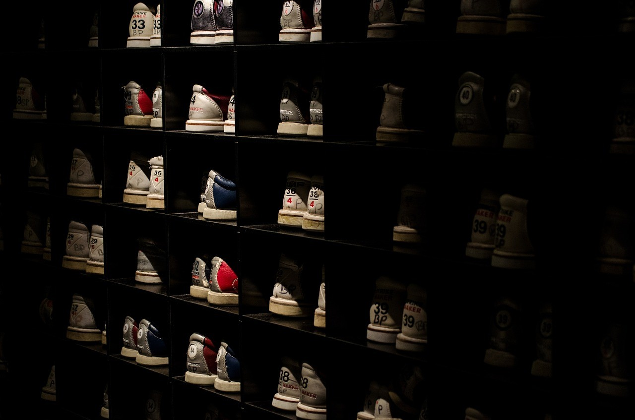 A cupboard full of bowling shoes