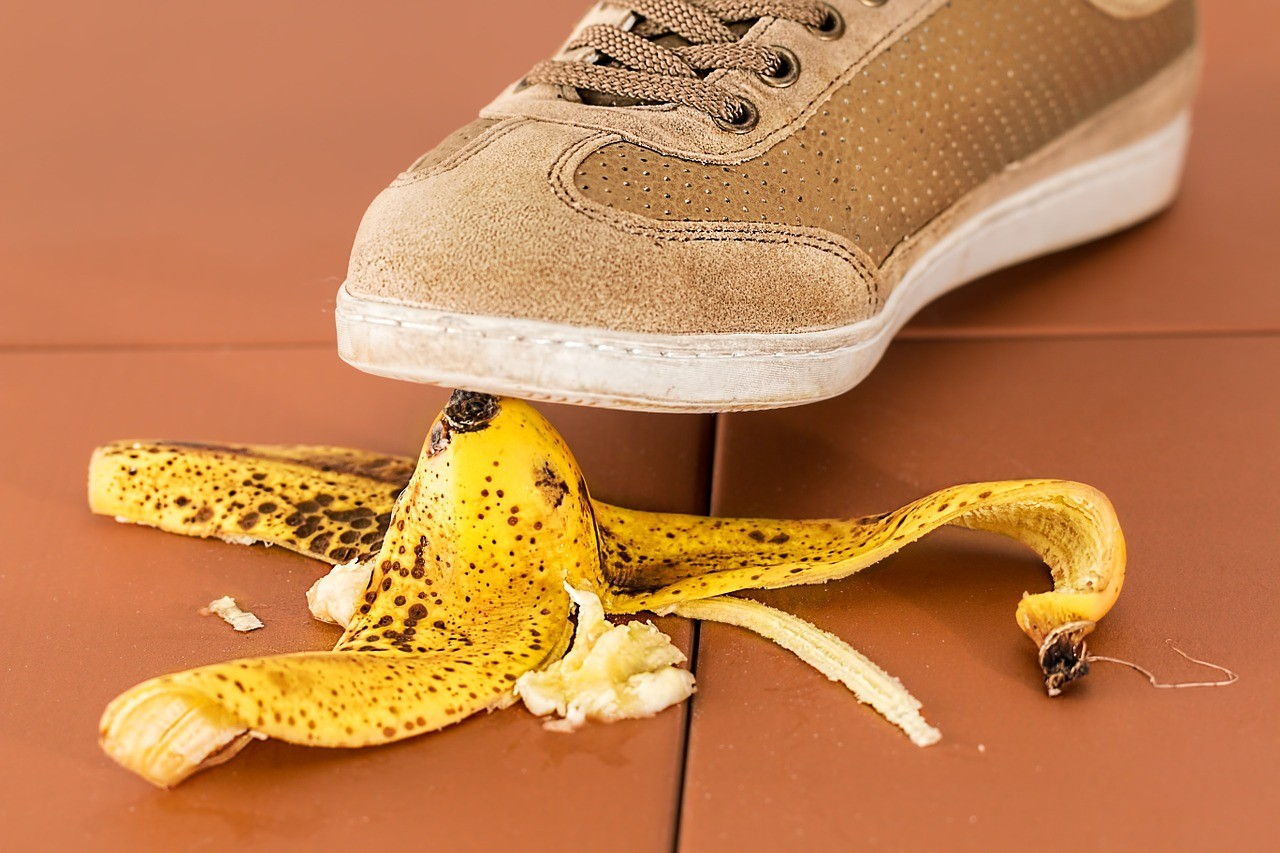 Person about to slip on a banana peel