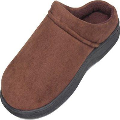8. Luxehome Men's Slip-On Indoor/Outdoor Fleece Scuffs