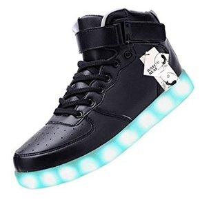 5. JustCreat Women Men High Top USB Charging LED Shoes Flashing Sneakers