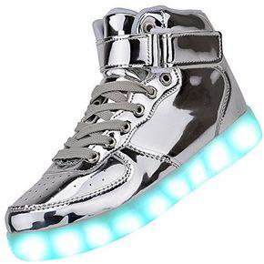 1. Odema Women High Top USB Charging LED Shoes Flashing Sneakers