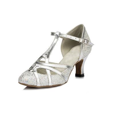 3. Minitoo Women's T-strap Glitter Salsa Tango Ballroom Latin Dance Shoes Wedding Pumps