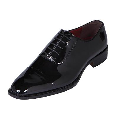 4. Amali Mens Black Classic Patent Cap-Toe Tuxedo Oxford Dress Shoe