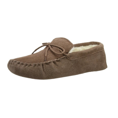 4. Snugrugs Men's Suede Sheepskin Moccasin Slippers With Soft Sole