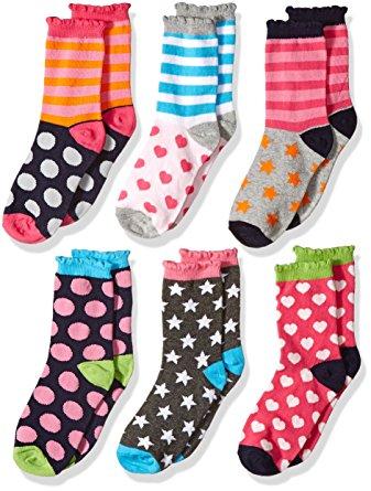 10. Jefferies Socks Girls' Little Girls' Dots/Hearts/Stripes Fashion Crew socks 6 Pairs Pack