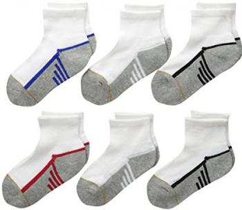 2. Gold Toe Big Boys' Six-Pack Athletic Quarter Socks