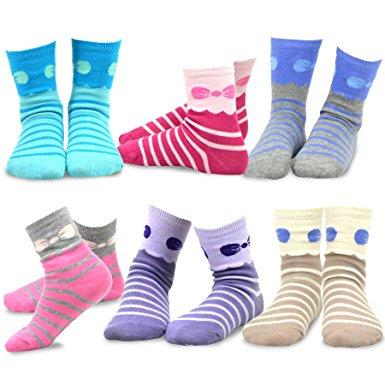 6. Naartjie Kids Girls Stripes Fashion Cotton Short Crew 6 Pair Pack