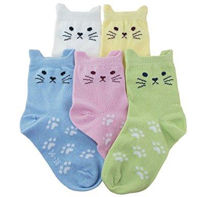 9. Tandi Kids Girls Cotton Novelty Cats Crew No Seam Socks 5 Pairs Pack