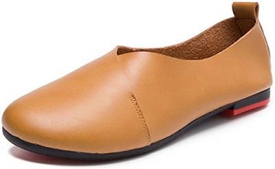 10. Kunsto Genuine Leather Flats