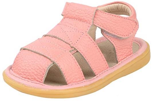 LONSOEN Closed-Toe hard bottom shoes for baby