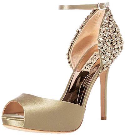 badgley mischka vanity champagne heels