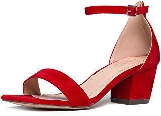 Top Moda MVE Stacked Block red bottom heels