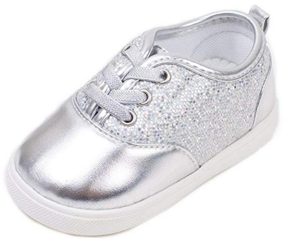 wee girls lexi silver squeaky shoes side view