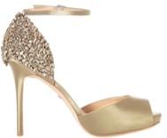 badgley mischka vanity champagne heels side view