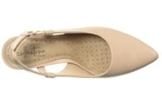clarks linvale loop champagne heels top view