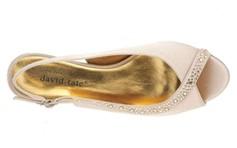 david tate dainty champagne heels top view