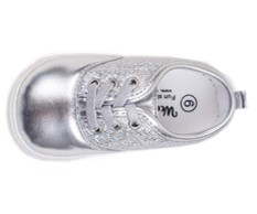 wee girls lexi silver squeaky shoes top view