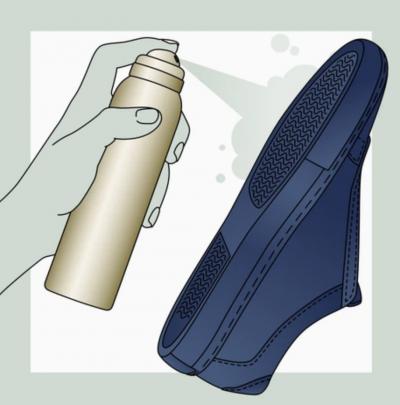 spraying shoe sole